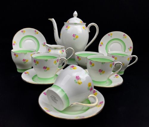 Bell China Tea Set / Tea Pot / Pink And Yellow Flower With Green / Vintage Cup